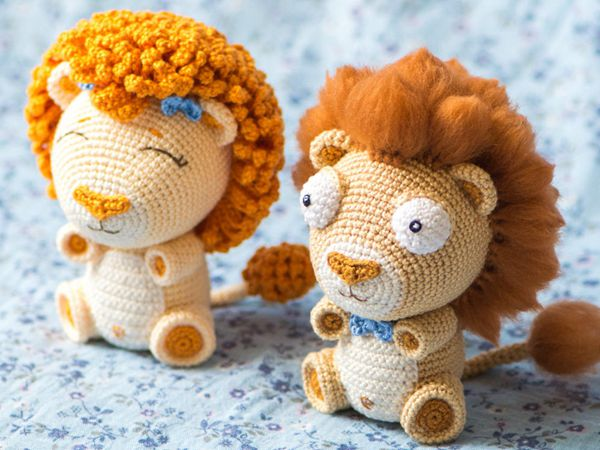 crochet Lion Cubs Bobby and Lily easy pattern