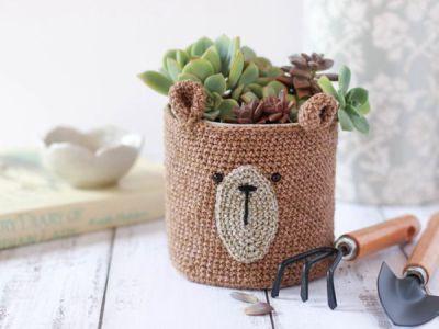crochet Teddy bear planter free pattern