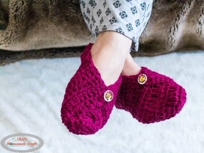 crochet Button Slippers from Square free pattern