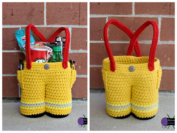 crochet Firefighter Pants Gift Basket easy pattern