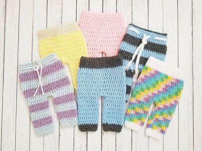 crochet Newborn Photo Prop Pants easy pattern