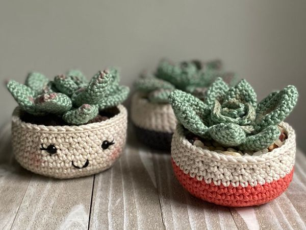 crochet Rosette Succulent easy pattern