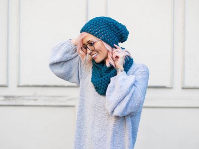crochet Perfectly Puff Beanie Cowl Set free pattern