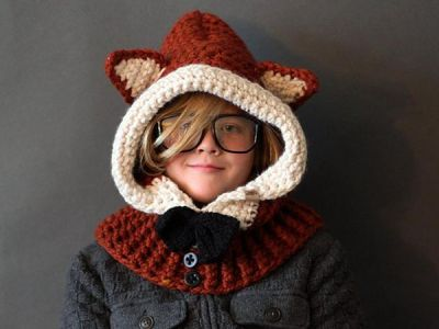 crochet Hooded Fox Cowl easy Pattern