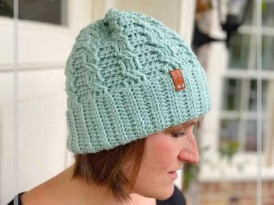 Neo Mint Crochet Cable Hat free pattern