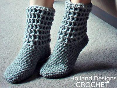 crochet Ladies Waffle Boots easy pattern
