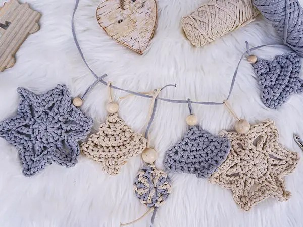 Crochet Cord Christmas ornaments free pattern