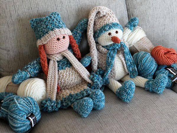 crochet Amigurumi Snowman and Doll easy pattern