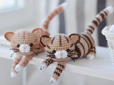 crochet Brown Red Striped Kitty easy pattern