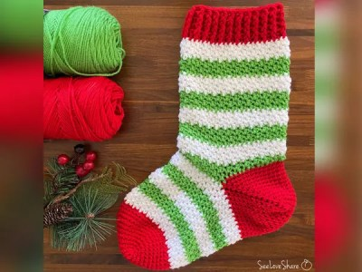 crochet Elf-ie Christmas Stocking free pattern