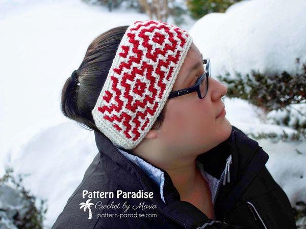 crochet Mosaic Headband free pattern