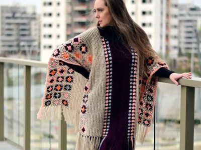 crochet OOAK Granny Square Poncho easy pattern