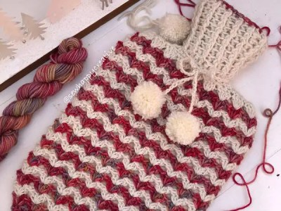 crochet Snow Fall Hot Water Bottle Cover easy pattern