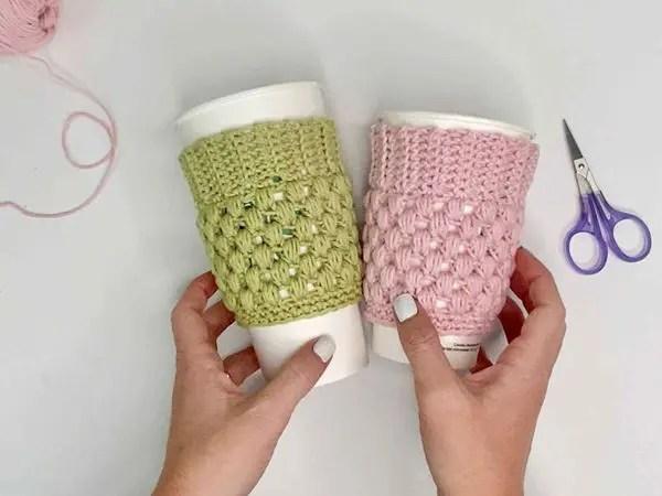 EASY CROCHET CUP COZY free pattern