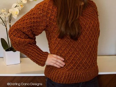 crochet Diamond in the Rough Sweater free pattern