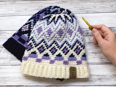 crochet Fair Isle Hat free pattern