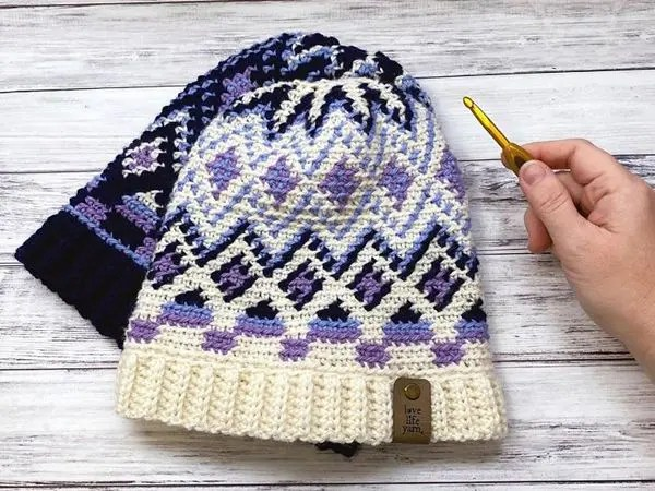 crochet Fair Isle Hat free pattern