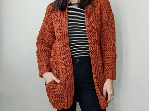 crochet Hand in My Pocket Cardigan free pattern