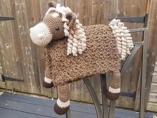crochet 3 in 1 Farm Horse Baby Blanket easy pattern