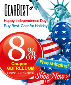 Happy Independence Day! Buy Best Gear for Holiday, Get 8% Off and Free Shipping on Any Order at Gearbest with Coupon: GBFREEDOM, Ends on 30/09/2014.