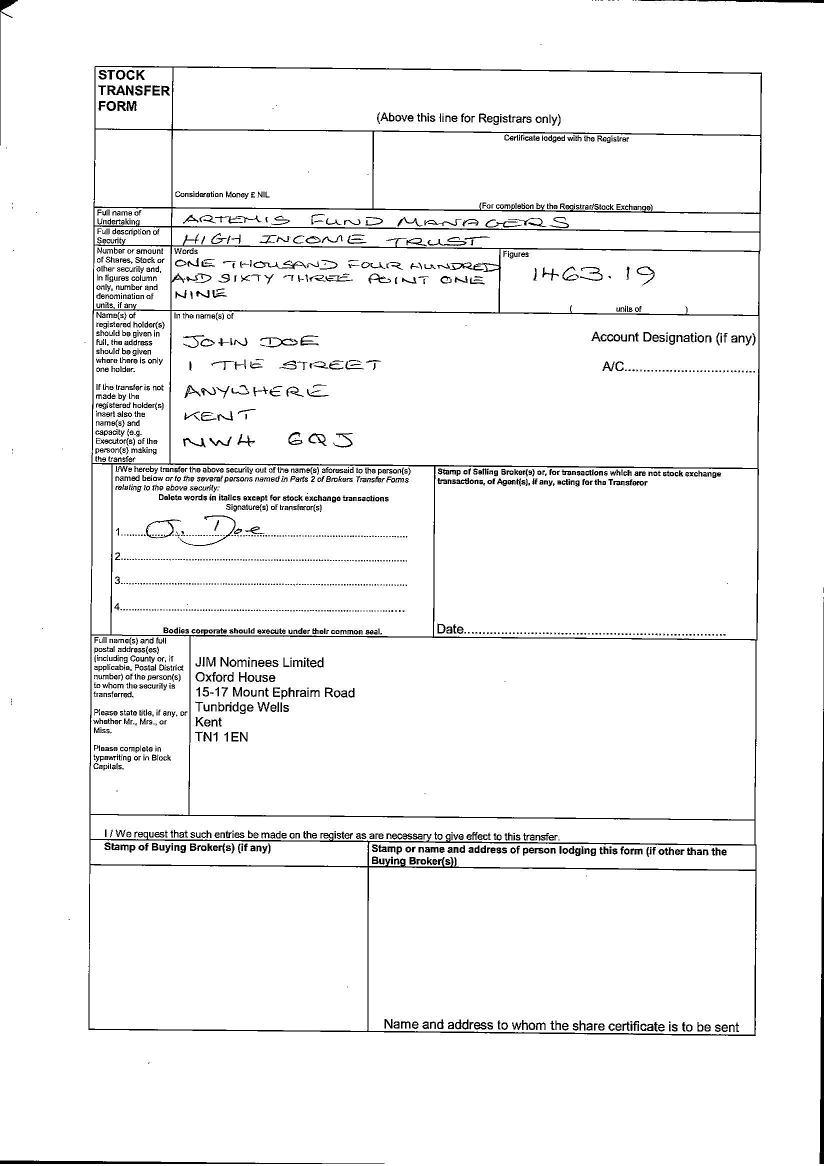 Back Of Stock Transfer Form [Sample]