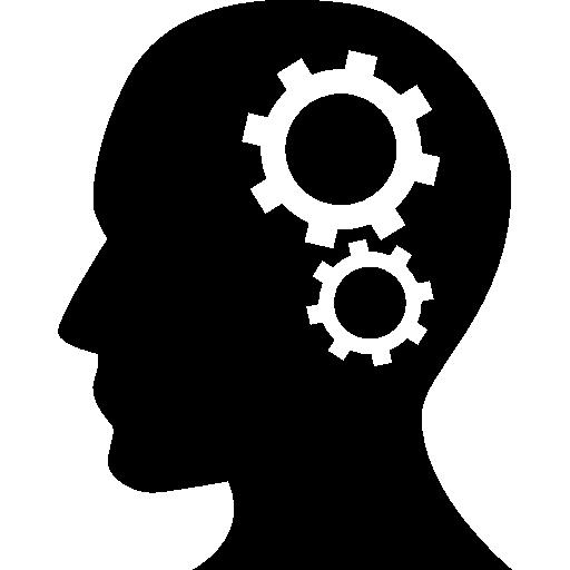 Human Head Business head Thinking Side View Cogwheels