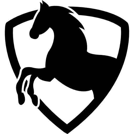 shield Animal Silhouette outline horse Animals Black part Shields icon