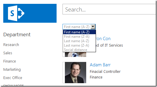 sharepoint search people sorting