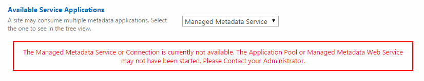 pic Currently Not Available the managed metadata service or