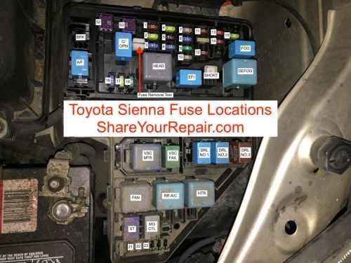 small resolution of toyota sienna fuse locations