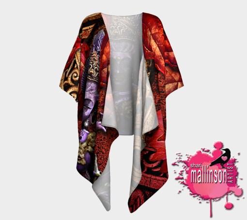 Fire Kali Art Draped Kimono, Front