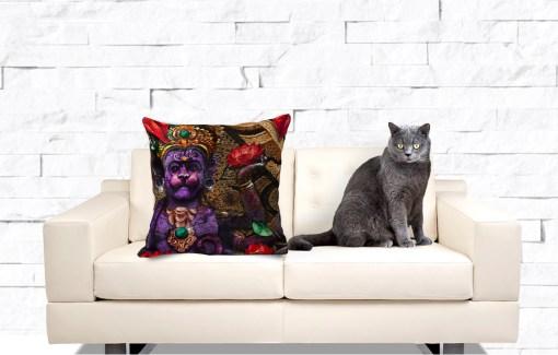 Fire Hanuman, Throw Pillow