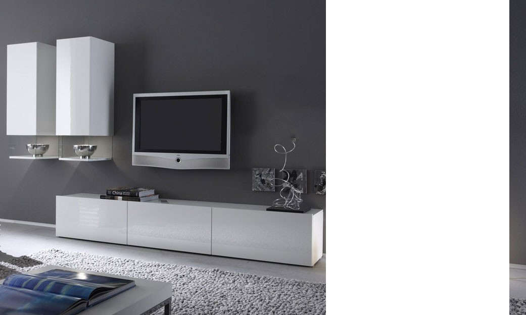 Meuble Tv Bas Blanc Laqu Mobilier Design Dcoration D