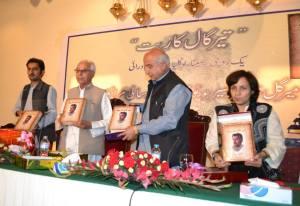 Dr. Malik Baloch Launching the Book. Credit: Musa Farman
