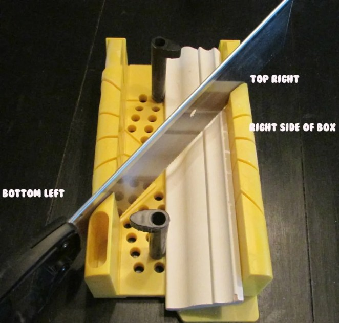 miter box for crown moulding right corner