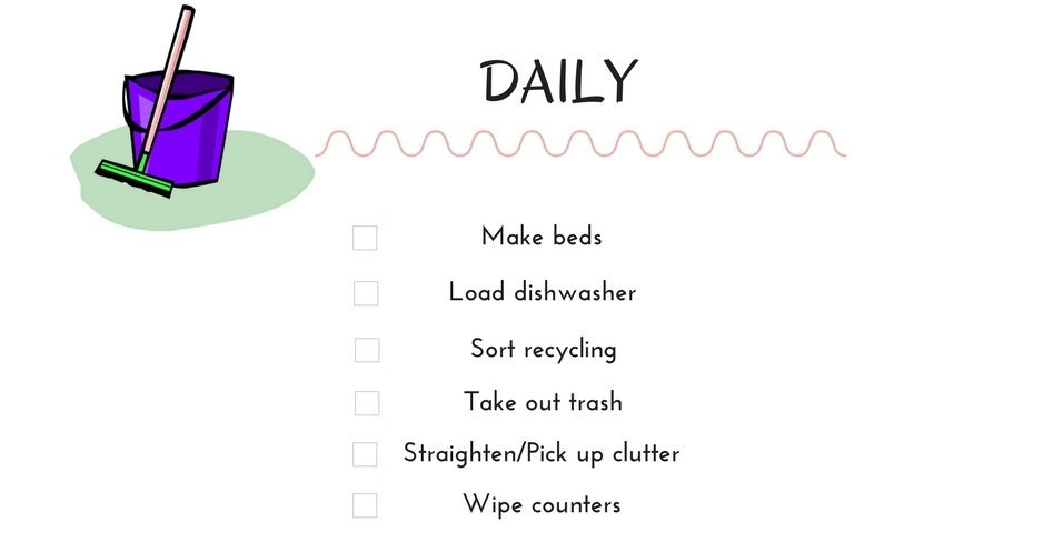 Cleaning schedule daily