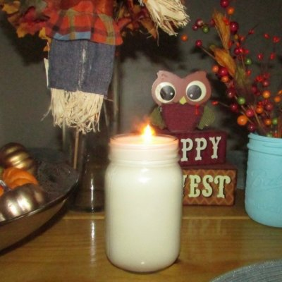 soy candle lit