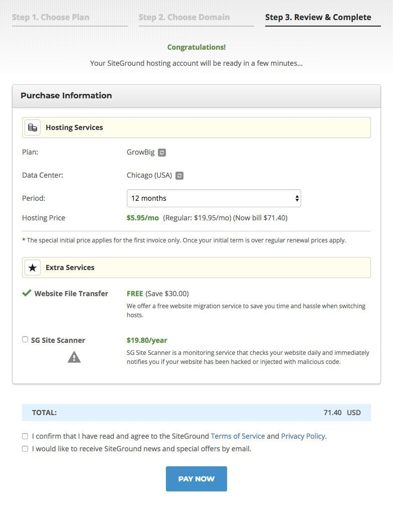 Siteground hosting step 3