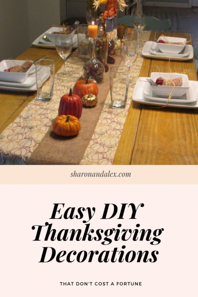 Having a beautifully decorated Thanksgiving table doesn't need to cost you a fortune. Check out these cheap and easy DIY Thanksiving decorations. #thanksgiving #thanksgivingdecor #holidaydecor