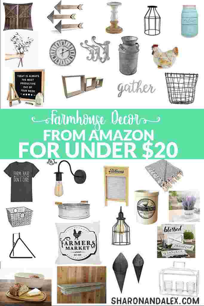 Farmhouse decor finds on Amazon that are under $20. Decorate in the farmhouse style on any budget!