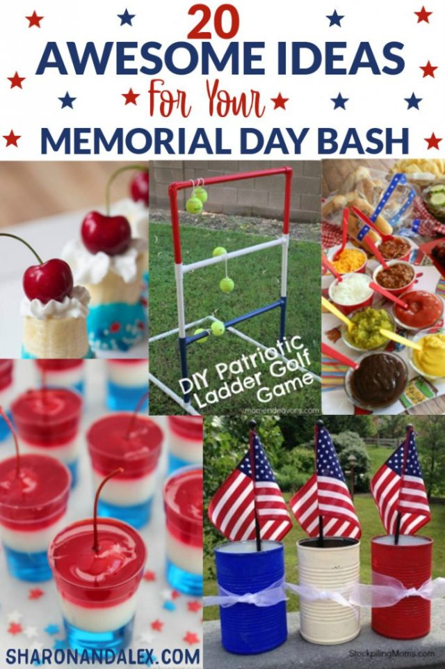 Memorial Day is right around the corner! Check out these 20 ideas you need for your best Memorial Day party ever. Ideas for food, drinks, desserts and games will add just the touch of awesomeness your party needs. #memorialday