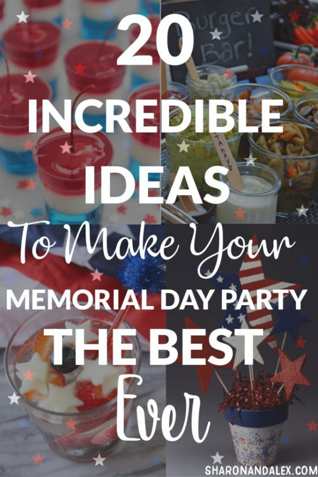 If you're hosting or attending a Memorial Day party, you're probably looking for ideas right about now. Check out these 20 awesome ideas for food, drinks, desserts and games. Make this the best Memorial Day ever! #memorialday