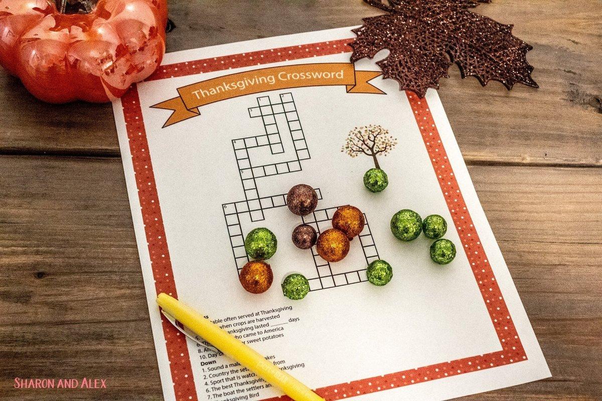 Free Printable Thanksgiving Games - Crossword