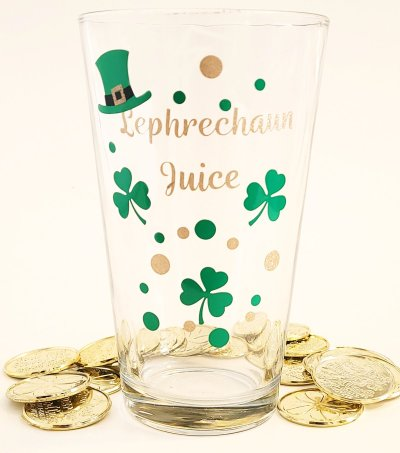 St Patrick's Day SVG file applied to pub glass