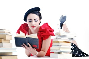 young student woman in retro clothes read book and get education for exam study isolated on white backround