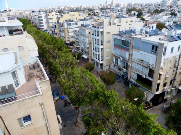 The view of Dizengoff Street from Val's rooftop