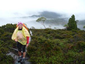 Another wet day trekking on the Overland Track in Tasmania, Australia