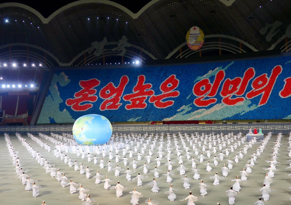 Showing the DPRK on the world globe at The Mass Games