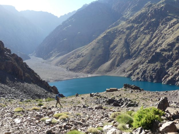 The lonesome Ismail (our guide) walking to the stunning Lake Ifni