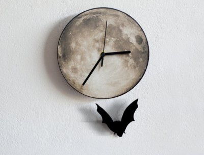 Moon and bat clock
